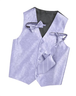 Subtly sophisticated, this iris five-button vest has a stylized paisley print for a modern touch. An adjustable back strap allows for a custom fit.