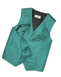 Subtly sophisticated, this jade green five-button vest has a stylized paisley print for a modern touch. An adjustable back strap allows for a custom fit.