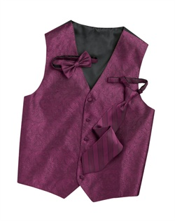 Subtly sophisticated, this sangria purple five-button  has a stylized paisley print for a modern touch. An adjustable back strap allows for a custom fit.