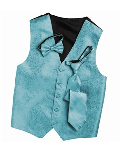 Subtly sophisticated, this Malibu blue five-button vest has a stylized paisley print for a modern touch. An adjustable back strap allows for a custom fit.