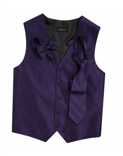 Subtly sophisticated, this purple five-button vest has a stylized paisley print for a modern touch. An adjustable back strap allows for a custom fit.