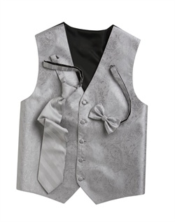 Subtly sophisticated, this platinum five-button vest has a stylized paisley print for a modern touch. An adjustable back strap allows for a custom fit.