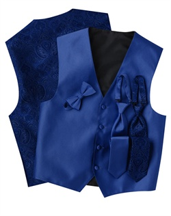 A subtle textured stripe pattern adorns the front of this modern, blue, four-button vest. The paisley back adds interest while the adjustable strap ensures comfort.