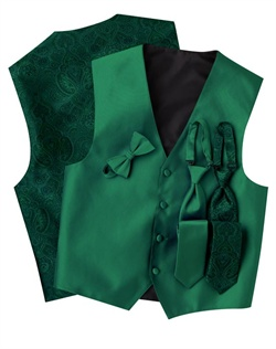 A subtle textured stripe pattern adorns the front of this modern, green, four-button vest. The paisley back adds interest while the adjustable strap ensures comfort.