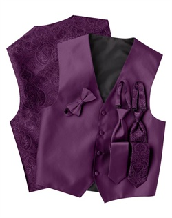 A subtle textured stripe pattern adorns the front of this modern, purple, four-button vest. The paisley back adds interest while the adjustable strap ensures comfort.