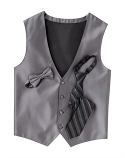 Featuring a subtle texture and an updated silhouette, this pewter gray four-button vest  brings an extra dose of style to your formalwear. An adjustable back strap allows for optimum comfort.