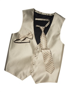 Featuring a subtle texture and an updated silhouette, this champagne four-button vest  brings an extra dose of style to your formalwear. An adjustable back strap allows for optimum comfort.