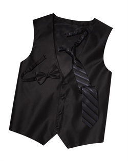 Featuring a subtle texture and an updated silhouette, this black four-button vest  brings an extra dose of style to your formalwear. An adjustable back strap allows for optimum comfort.