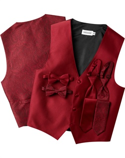 A subtle textured stripe pattern adorns the front of this modern, red, four-button vest. The paisley back adds interest while the adjustable strap ensures comfort.