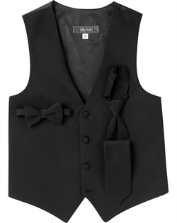Made with the same luxe grosgrain that adorns the lapel of its matching jacket, this BLACK by Vera Wang black tuxedo vest is the perfect complement to the collection's impeccably-designed modern tuxedo.