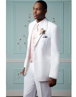 White non-vented tuxedo features two buttons and white satin-lined peak lapel.