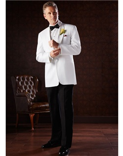 Classic dinner jacket features one-button shawl lapel. Jacket can be paired with coordinating white or black pants.