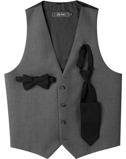 Finely woven in lightweight Super 120s wool, this gray, four-button tuxedo vest completes the elegant styling of a BLACK by Vera Wang ensemble.