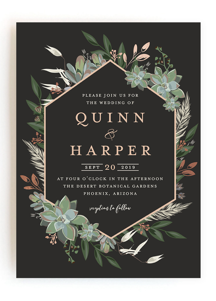 Wedding Invitations From Minted Vines Of Green Gilded Wildflowers Succulent Surround