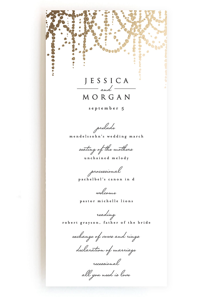Creative wedding ceremony program diy templates wedding programs from minted diamante pearl garland pronofoot35fo Image collections