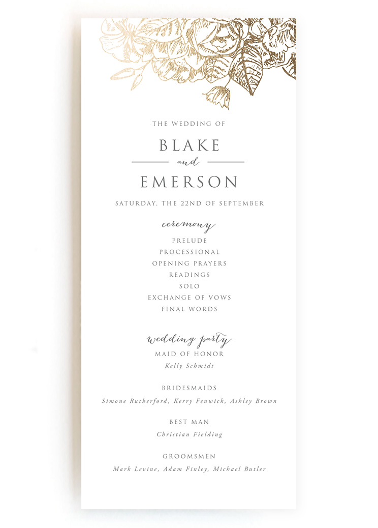 Creative wedding ceremony program diy templates wedding programs from minted diamante pearl garland gilded wildflowers pronofoot35fo Image collections